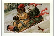 Bears Tobogganing Greeting Card