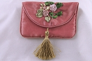 Pink Satin Jewelry Pouch with Ribbon Embroidery and Tassel