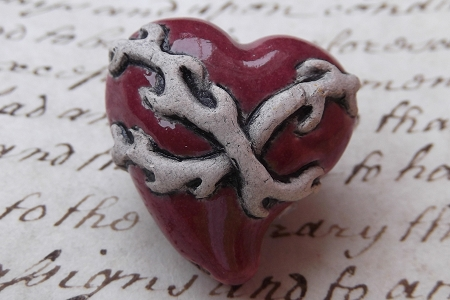 Large Red Sacred Heart Bead with Contrasting Thorns