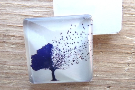 Square Glass Domed Square Birds Are Tree Cabochon