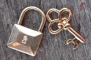 Golden Lock and Key Charm set