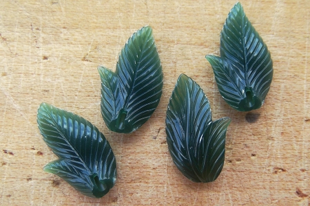 Textured 2-Sided Vintage Green Lucite Leaf Component