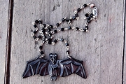 Bat Necklace on Jet Rosary Chain in Pouch