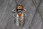 Large Bronze Cicada Pendant with Matching Chain