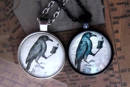 Crow (or Raven) Reading Book Cabochon<br>Your Choice of Setting/Matching Chain<br>&nbsp&nbsp&nbsp&nbsp&nbsp&nbspNEW! Silvery Setting