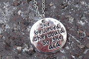 Bright Silvery She Believed... Charm or Pendant with Matching Chain