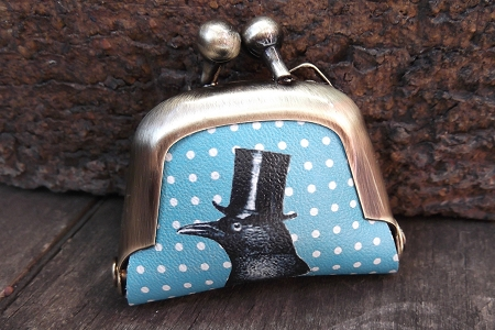 Miniature Leather Change Purse Featuring a Distinguished Crow or Raven