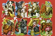 Reissued Chromolithograph Embossed Die-Cut Reliefs - Puppies and Kitties