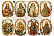 Reproduction Chromolithograph Embossed Die-Cut Reliefs - Saints (New)